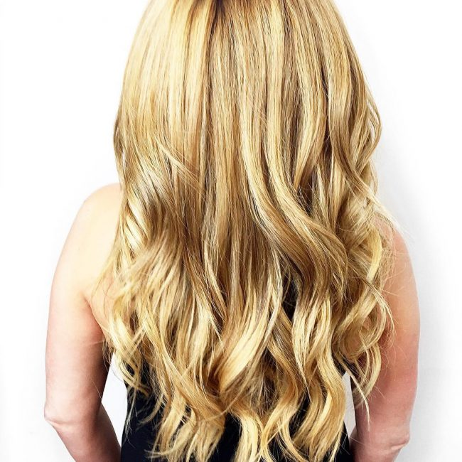 Shiny Honey Blonde with Shadowed Roots