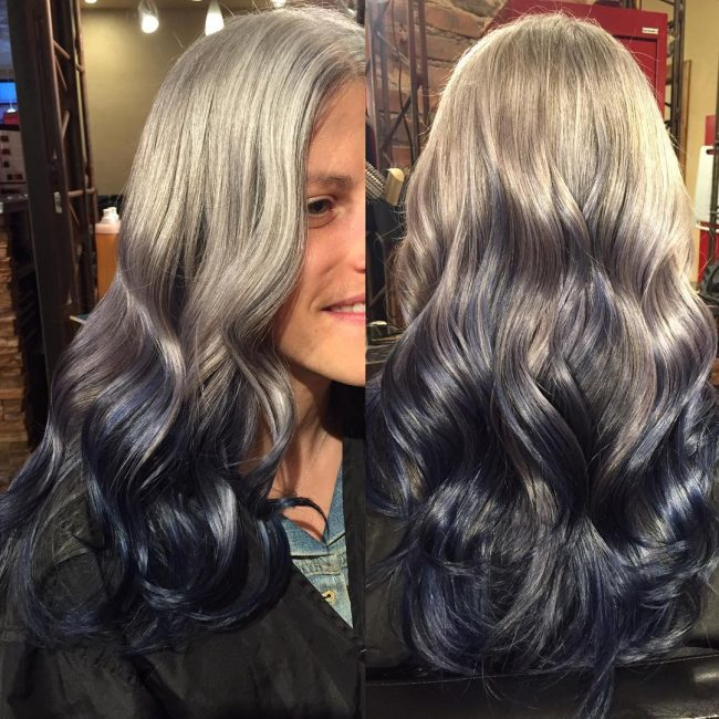 Silver to Blue Ombre