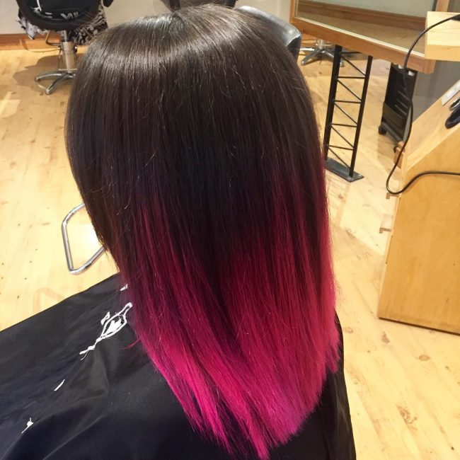 Straight Black to Pink Ombre Balayage
