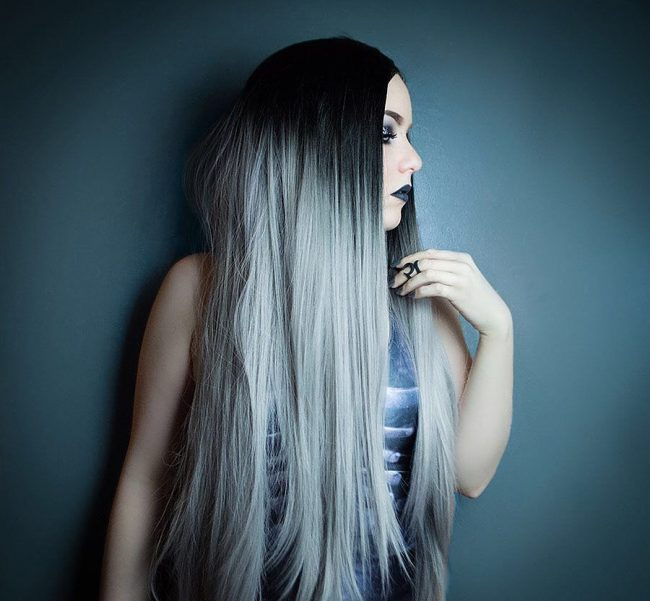 Stunning Silver Grey Ombre Hair