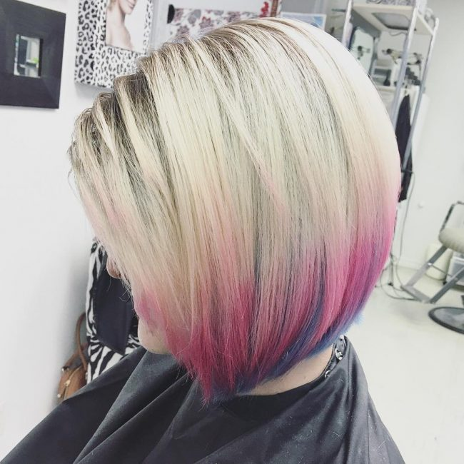 Stylish Blonde and Pink Ombre Bob