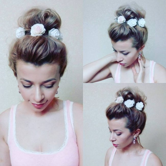 Updo with Decorative Roses