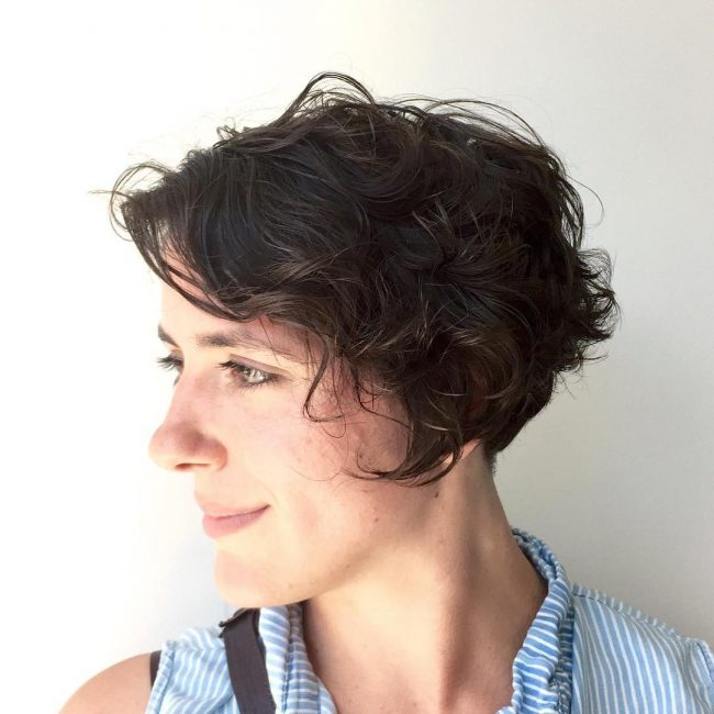 Asymmetrical and Naturally Curly Pixie