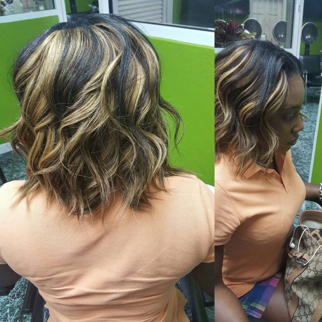 Black And Blonde Chunky Bob