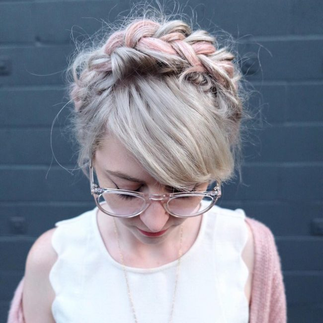 Blonde and Pink Crown with a Diagonal Swept Fringe