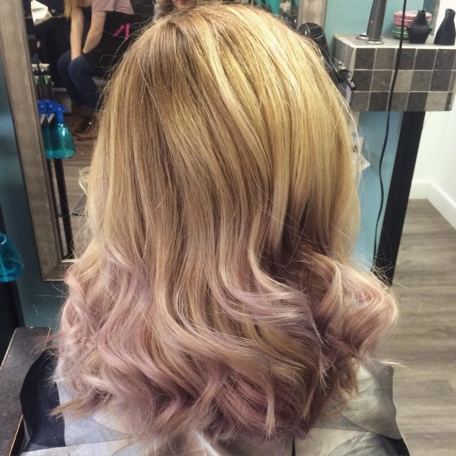 Blonde to Lilac Balayage Ombre