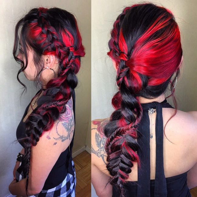 Bold Black and Red Plaiting