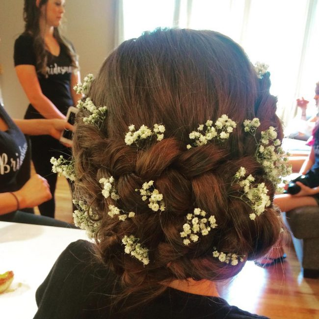 Braided Bridal Updo with Flowers