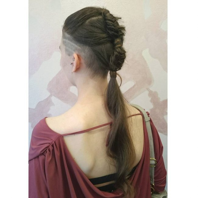 Braided Mohawk with Faded Undercut