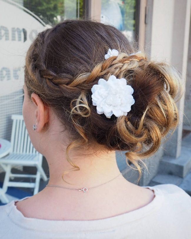 Braided Up Style with Flowers