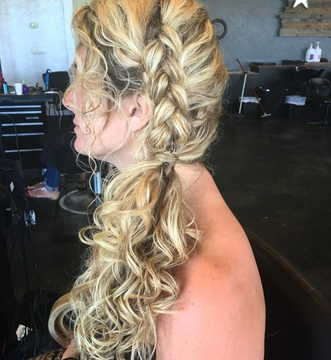 Charming Curly and Braided Side Pony