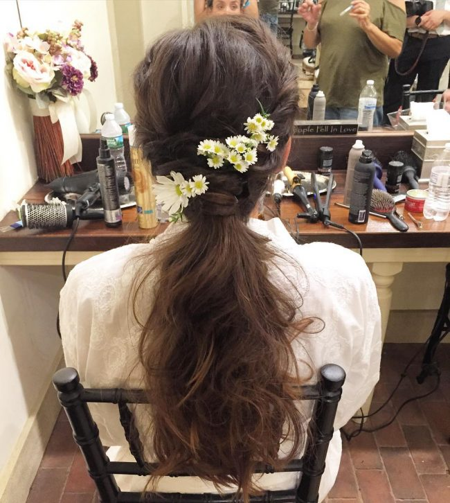 Chic Boho Updo with Flowers