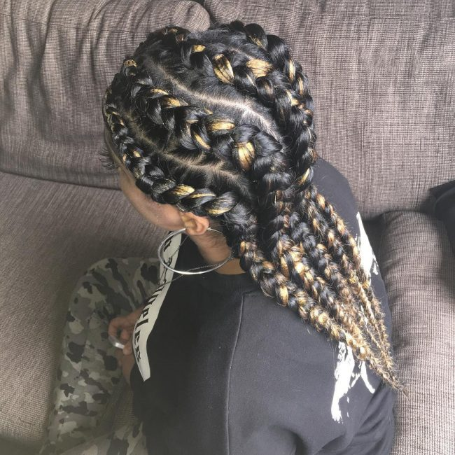 Chunky and Wavy Golden Blonde Cornrows