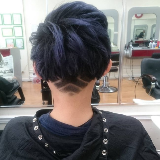 Dark Blue Bangs with a Fun Undercut