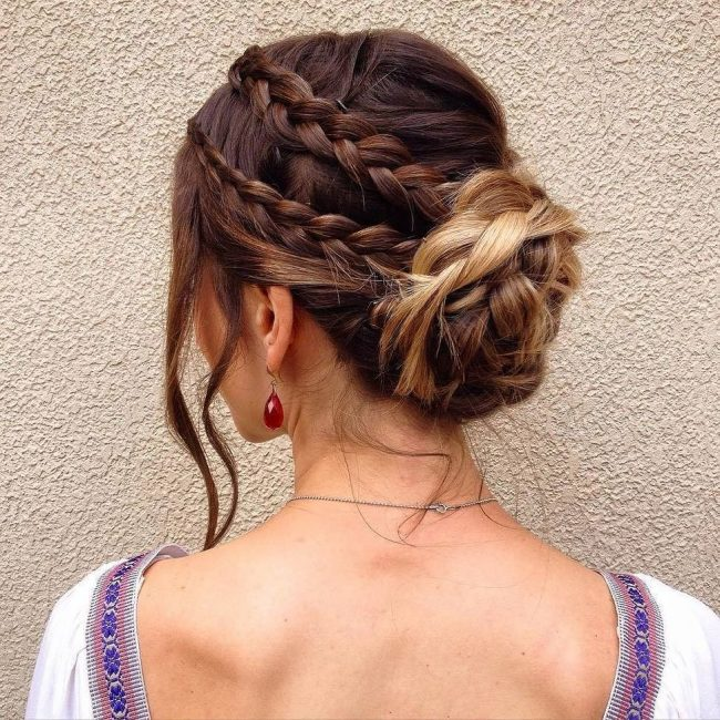 Double Braid with Flower Bun