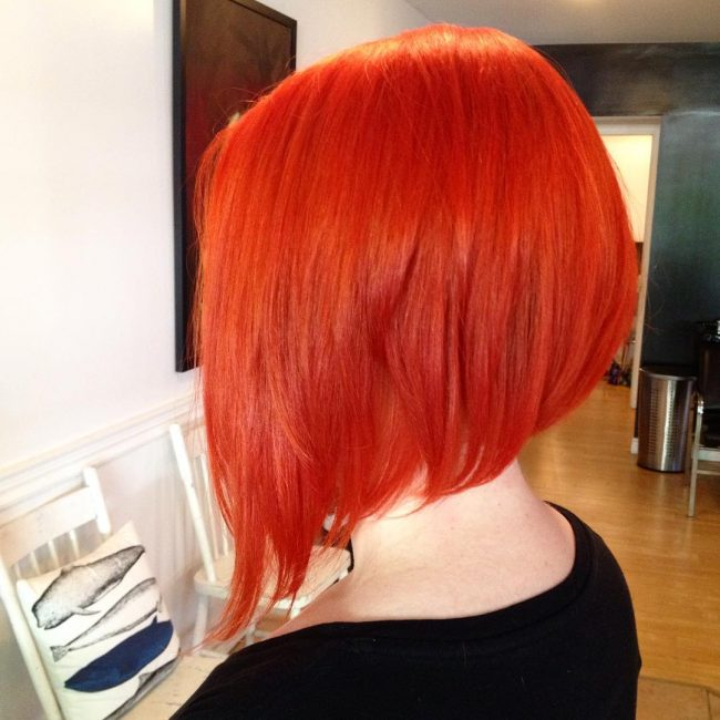Fancy Asymmetrical Undercut Orange Bob