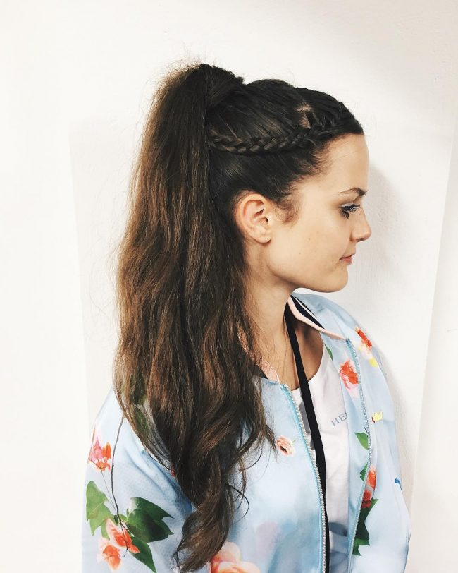 Flawless Messy Ponytail with a Side Braid
