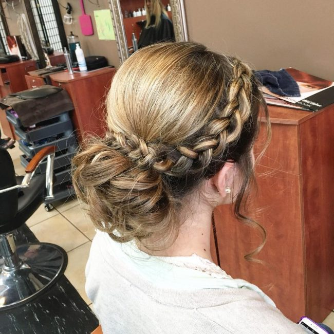Formal Updo with a Crown and Messy Bun