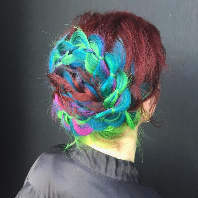 Four Strand Bright Braid Updo
