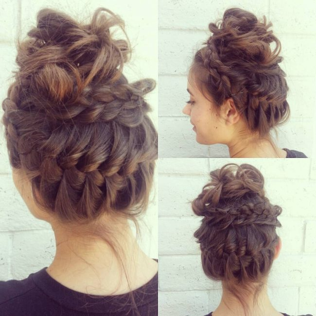 French Crown with Messy Curly Bun