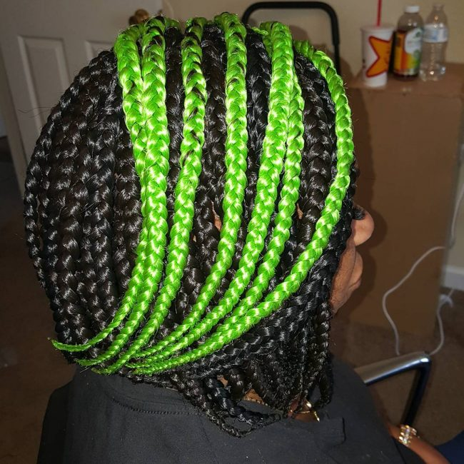 Green Highlight Braids