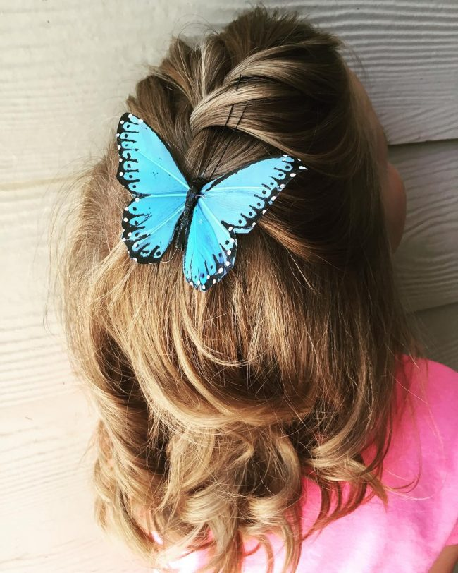 Half Braided Natural Curls with a Butterfly
