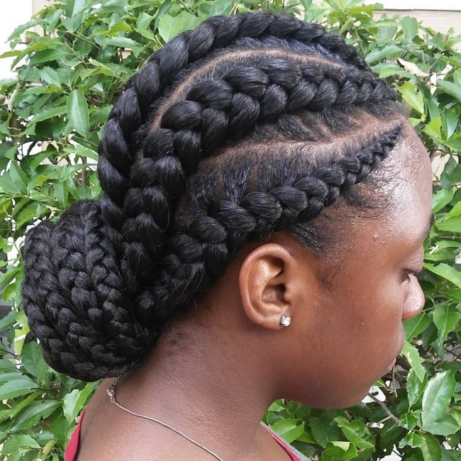 Huge Box Braids and Low Bun