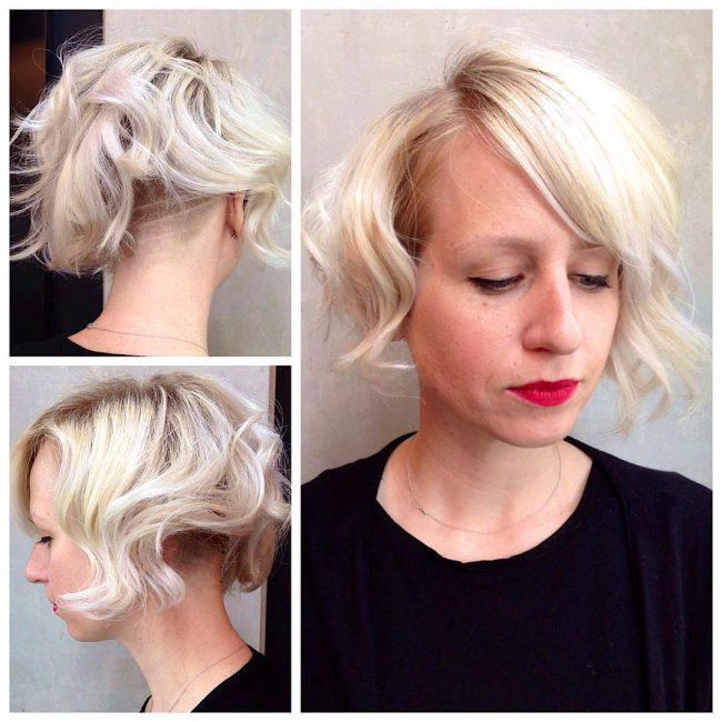 Icy Undercut Blonde Bob