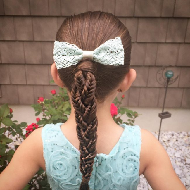 Intricate Fishtail with Vintage Lace Bow