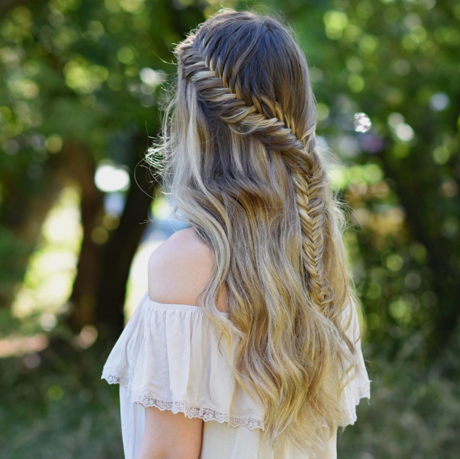 Lace French Fishtail Braid
