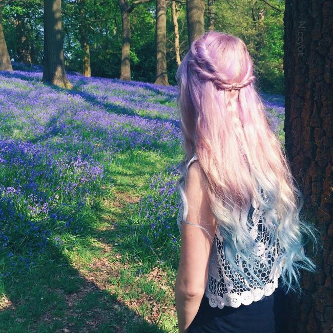 Lilac to Blue Balayage Ombre