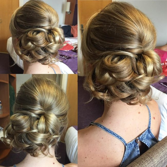 Modern Curly Side Updo