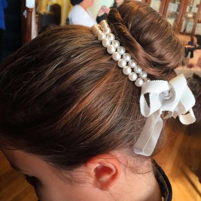 Neat Bun with Pearls