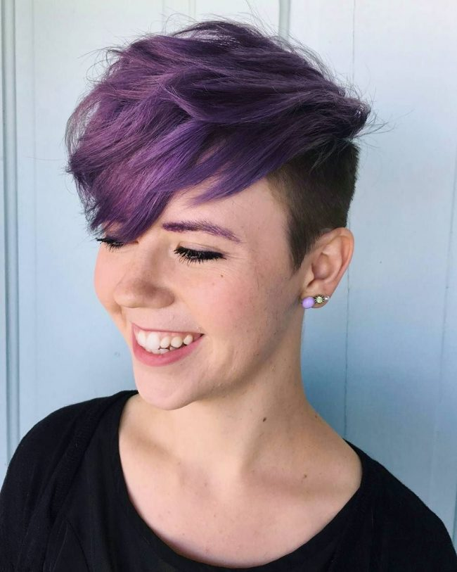 Purple Undercut Pixie