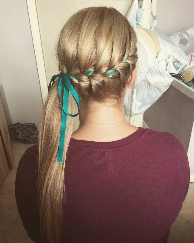 Side Plait with a Ribbon