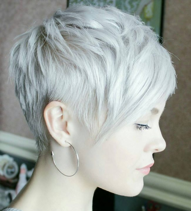 Silver Blonde Pixie Bangs