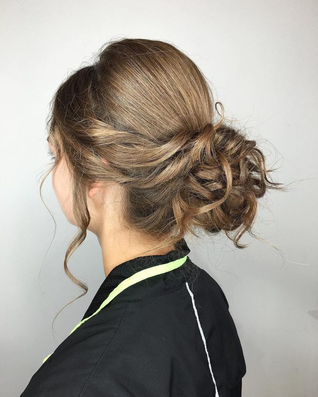 Simple Prom Updo with Textured Bangs