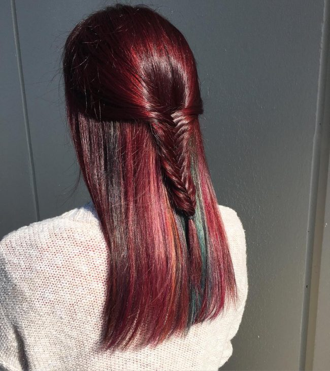 Small and Funky Tail on a Red Violet Hair