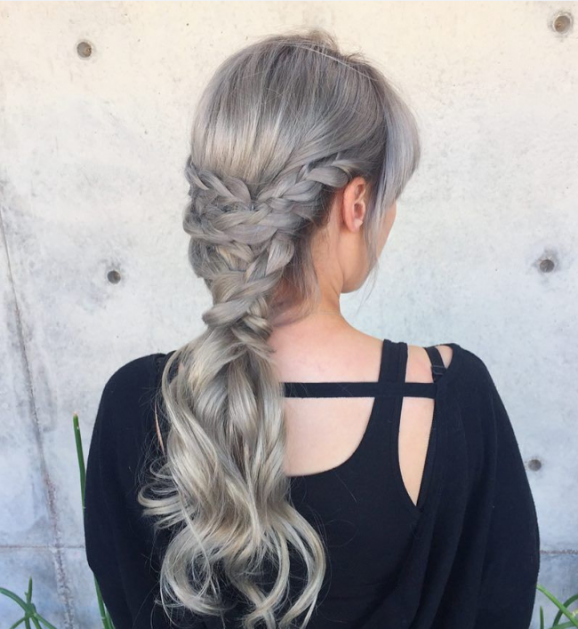 Sweet and Simple Silver Braided Pony