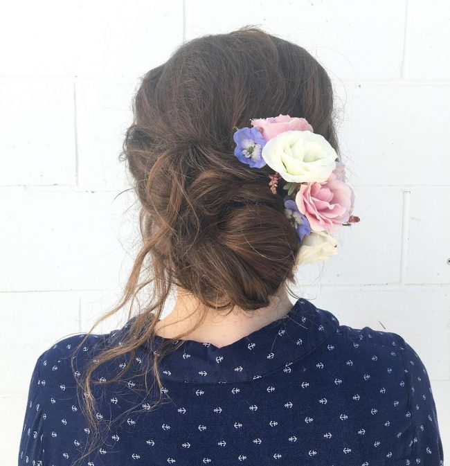 Textured Bun Updo with Flowers