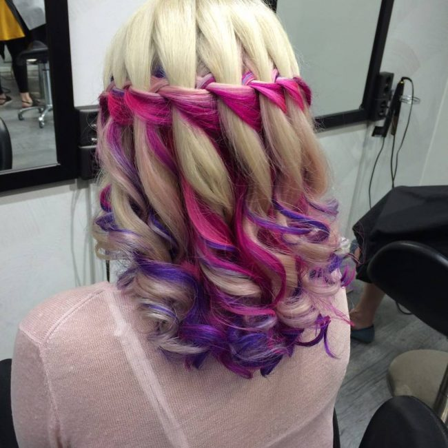 Three-Strand Braid on Pastel Hair