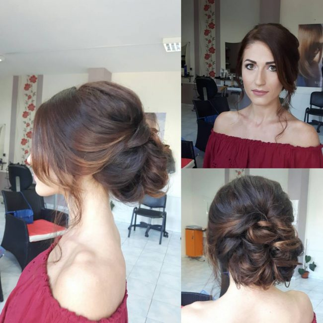 Tucked Low Bun with Bangs