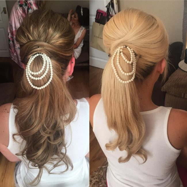 Twisted Bridal Updo with Pearls