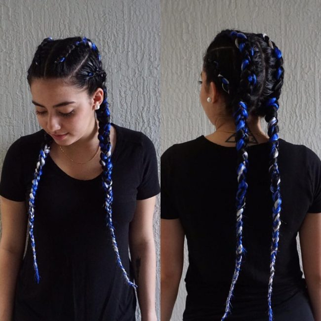 Twists with Beautiful Blue and Silver Extensions