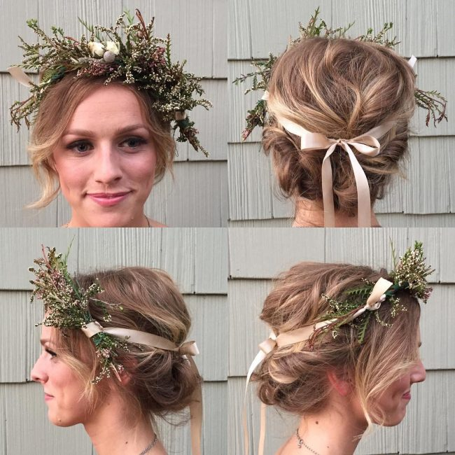 Unique Flowers and Ribbons Boho Upstyle