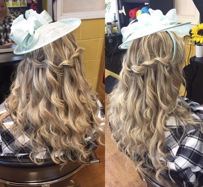Waterfall Braid with Soft Curls