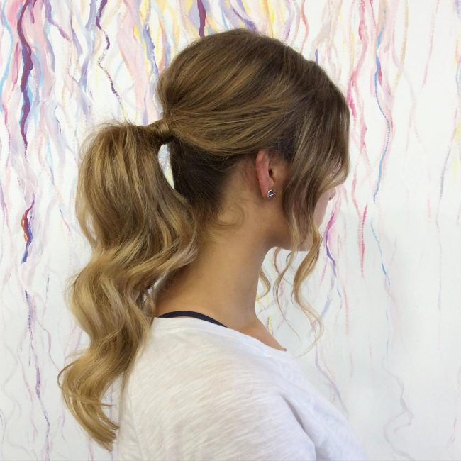Wavy Textured Pony with Bangs