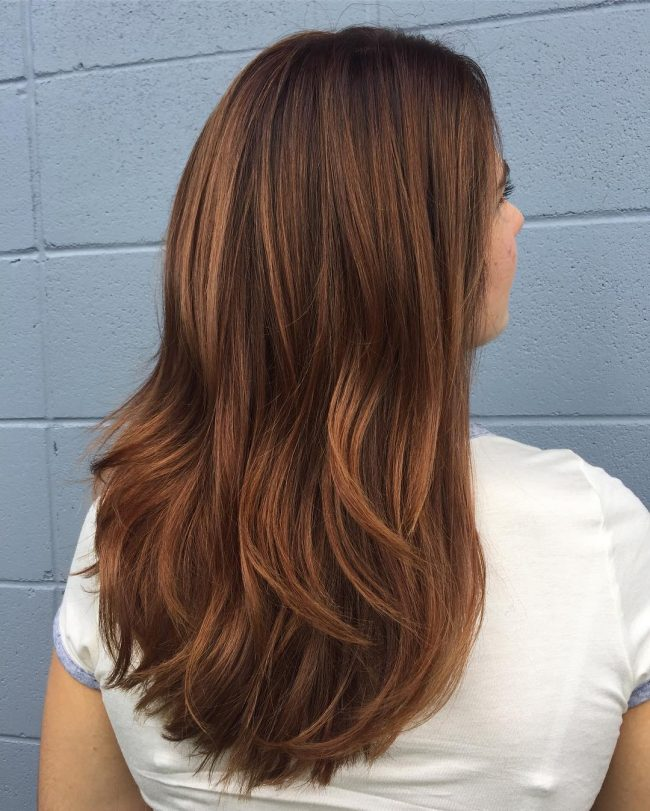 Balayage Locks with Copper Touches