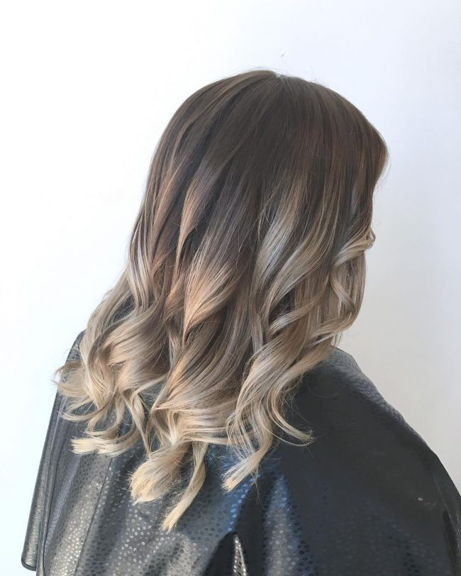 Beautiful Ashy Blonde Streaks on Brunette Hair