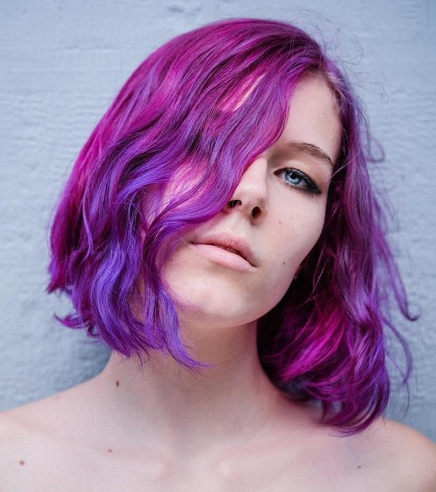 Beautiful Violet Bob with Light Blue Streaks